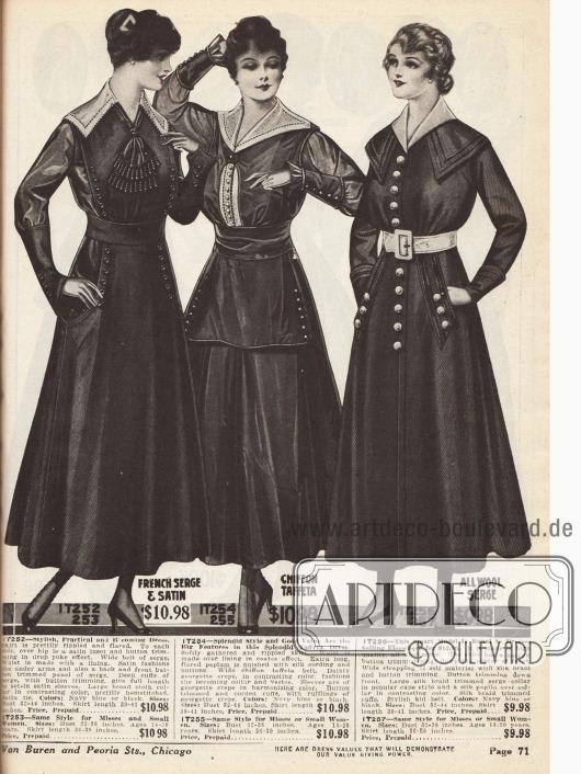 Drei Kleider aus französischer Serge und Satin, Chiffon-Taft sowie reinem Woll-Serge. Alle Kleider zeigen Knopfleisten als Zierde und breit ausladende Capekragen. Das mittlere Modell präsentiert zudem einen schürzenartigen Schoßteil und einen Westeneinsatz aus Georgette Krepp, aus dem auch der Kragen besteht.