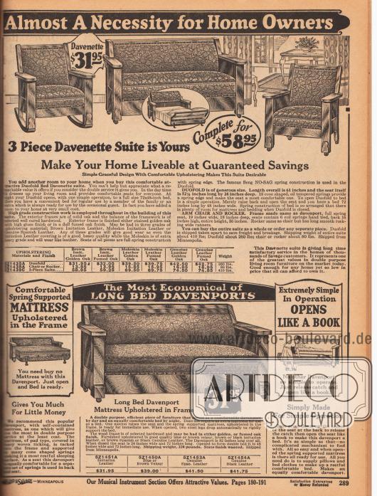 Dreiteilige Davenport Sofa-Garnitur oben (bestehend aus Dreisitzersofa, Sessel und Schaukelstuhlsessel) und ein ebenfalls ausziehbares Davenport Sofa für 31,95 Dollar unten. Die Sofas und Garnituren sind aus massiven Sichtholzgestellen, die aus Eiche oder Hartholz gefertigt wurden. Die Sitzgarnitur oben kann wahlweise mit günstigem Lederimitat oder mit teurerem Echtlederbezug bestellt werden. Das untere Sofa ist mit einer bequemen Matratze für die Nacht als Gästebett benutzbar.