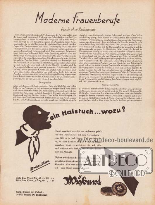 """Artikel: O. V., Moderne Frauenberufe. Berufe ohne Reifezeugnis (Photographin, Pressephotographin).  Werbung: """"Ein Halstuch… wozu?"""", """"Gurgle trocken mit Wybert – und Du ersparst Dir Erkältungen"""", Wybert Pastillen für frischen Atem und gegen Erkältungen, Wybert."""
