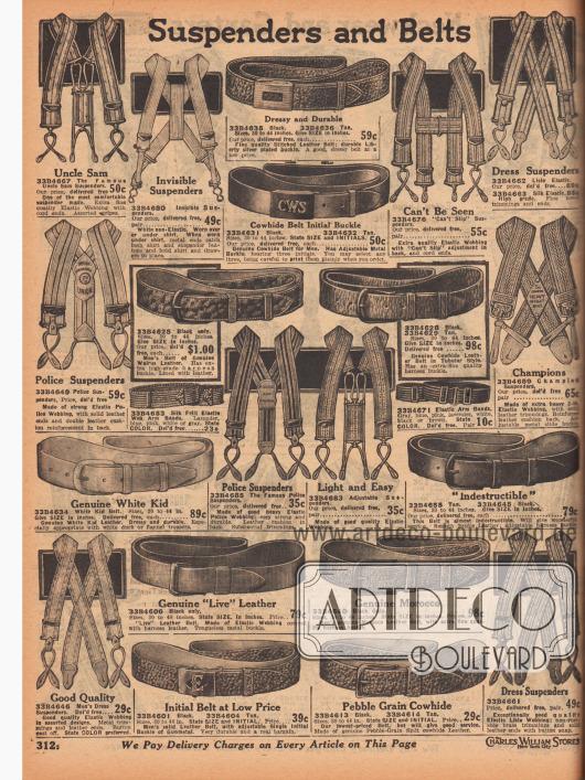 """""""Hosenträger und Gürtel"""" (engl. """"Suspenders and Belts""""). Seite mit Hosenträgern aus elastischen, gestreiften Bändern und Metall-Klammern für elegante Gelegenheiten, Alltagskleidung oder für schwere Arbeiten. Oben links ein Hosenträger der Marke Uncle Sam. Elastische Armbänder halten hochgekrempelte Hemdärmel. Des Weiteren sind Gürtel aus genarbten Ledern, Marokko-Leder, Kalbsleder, Walrossleder, Chevreauleder (Ziegenleder) oder elastischen Material mit Metall-Schließen und Initialen hier zu finden."""