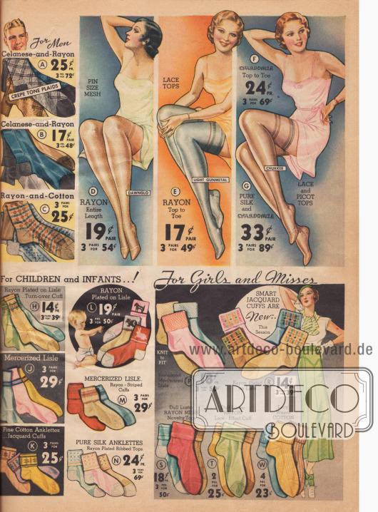 """Seidenstrümpfe und Rayonstrümpfe für Damen, Socken aus Celanese, Baumwolle und Rayon für Männer und """"Anklettes"""" (Knöchelsöckchen) für Kinder und Frauen."""