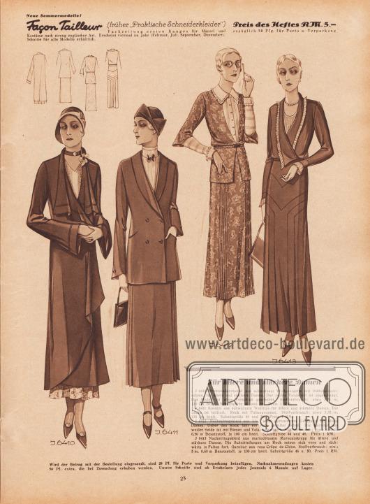 Für ältere und stärkere Damen. J 6410: Promenadenmantel aus schwarzem Wollgeorgette mit Stäbchenhohlnähten, für ältere und stärkere Damen. Der rechte Vorderteil ist abgeschrägt. Das Modell ist ohne Verschluß gearbeitet. Stoffverbrauch: etwa 3,75 m, 130 cm breit. Schnittgröße 46 und 50. Preis 1 RM. J 6411: Kostüm aus schwarzem Wollrips für ältere und stärkere Damen. Die Jacke ist tailliert. Rock mit Faltengruppen. Stoffverbrauch: etwa 3,35 m, 130 cm breit. Schnittgröße 46 und 50. Preis 1 RM. J 6412: Nachmittagskleid aus lila, weiß gemusterten Georgette für ältere Damen. Über den Rock fällt ein vorn geteilter Schoß. Die Garnitur aus weißer Seide ist mit Biesen und Volants garniert. Stoffverbrauch: etwa 4,40 m, 0,50 m Besatzstoff, je 100 cm breit. Schnittgröße 44 und 48. Preis 1 RM. J 6413: Nachmittagskleid aus marineblauem Marocainkrepp für ältere und stärkere Damen. Die Schnitteilungen am Rock setzen sich vorn und rückwärts in Falten fort. Garnitur aus rosa Crêpe de Chine. Stoffverbrauch: etwa 5 m, 0,60 m Besatzstoff, je 100 cm breit. Schnittgröße 46 u. 50. Preis 1 RM. [Seite] 23