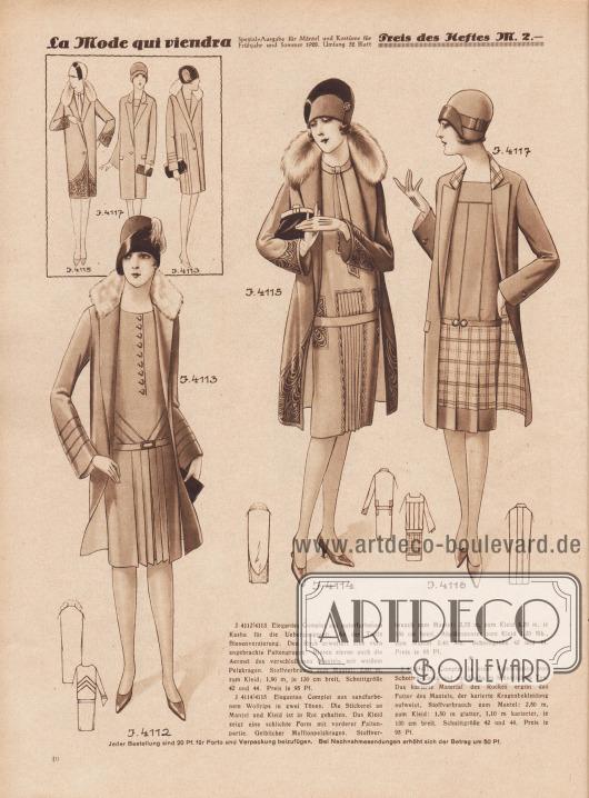 4112/4113: Elegantes Complet aus naturfarbenem Kasha für die Übergangszeit. An der Taille Biesenverzierung. Den Rock erweitert eine vorn angebrachte Faltengruppe. Biesen zieren auch die Ärmel des verschlußlosen Mantels mit weißem Pelzkragen. 4114/4115: Elegantes Complet aus sandfarbenem Wollrips in zwei Tönen. Die Stickerei an Mantel und Kleid ist in Rot gehalten. Das Kleid zeigt eine schlichte Form mit vorderer Faltenpartie. Gelblicher Mufflonpelzkragen. 4116/4117: Complet in einer Kombination von Schotten-Kasha und uni Kasha in bräunlichem Ton. Das karierte Material des Rockes ergibt das Futter des Mantels, der karierte Kragenbekleidung aufweist.