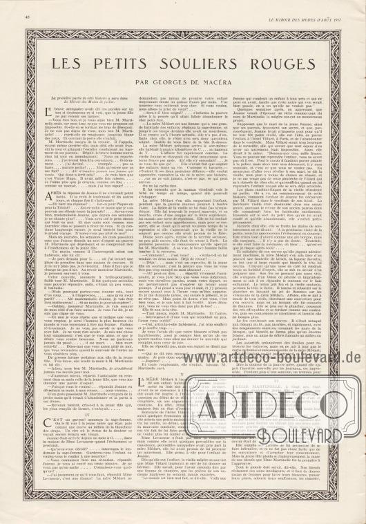 Artikel (Fortsetzungsroman): Macéra, Georges de, Les petits Souliers rouges (par Georges de Macéra).