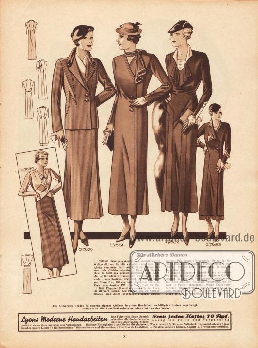 """""""Für stärkere Damen"""". 7679/80: Übergangskostüm aus dunkelbraunem Wollcotelé, der für die einfache Jacke zum Teil schräg verarbeitet ist. Am Rock ist linksseitlich eine tiefe Gehfalte eingelegt. Dazu eine Schoßbluse (7680) aus grünem Mattkrepp. Das Complet ist für stärkere Damen sehr vorteilhaft. 7681: Eleganter Mantel aus marineblauem Tuch, für stärkere Damen. Die Ränder und die Ärmelblenden sind durch mehrfache Stepperei betont. Der mit Pelz besetzte Kragenschal ist auf der linken Schulter eingeknotet. 7682/83: Elegantes Ensemble aus schwarzem Wollstoff, der für das Kleid in leichterer Qualität gewählt ist. Der mit Pelz garnierte Mantel sowie das Kleid sind mit Teilungen verarbeitet, die am Rock in Falten übergehen. Weiße Crêpe-Satin-Garnitur."""