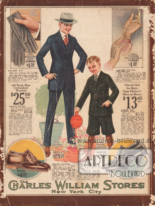 """Rückseite des Versandhauskatalogs der Charles William Stores aus New York City mit gemischten Angebot. In der Mitte ein Herrenanzug aus marineblauer, reiner Wolle mit Heringsmuster sowie ein Anzug für 10 bis 18-jährige Jungen im Norfolk-Stil und kurzer Knickerbockerhose aus Cheviot-Wolle. Oben links und rechts befinden sich jeweils ein Paar Handschuhe aus """"Mochasette"""" (Lederimitat mit samtartiger Oberfläche) für Männer und Frauen. Unten sind ein Paar Oxford-Schuhe für Männer sowie Frauen. Das Material beider Schuhe ist braunes Mahagoni Leder sowie schwarzes Lackleder. Das Herrenschuhmodell ist Goodyear welted (Rahmengenäht). Das Paar Damenschuhe zeigt einen Louis XIV Absatz."""