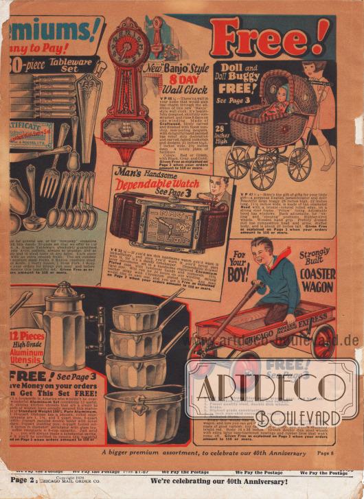 """Ausklappbarer Faltbogen, dessen Papier über die vergangenen Jahrzehnte stark gealtert und deutlich gebräunt ist. Der rechte Teil des ausklappbaren Faltbogens zeigt Prämien als Belohnung für Kundentreue (siehe S. 3). Auswählbar sind ein 30-teiliges Esszimmer Besteck-Set aus versilbertem Nickel, eine Wanduhr im """"'Banjo' Style"""", eine verchromte Armbanduhr für Männer, ein Spielzug Kinderwagen für kleine Mädchen, ein Küchenkochtopf-Set mit Kanne aus Aluminium sowie eine Seifenkiste für Rennen für Jungen."""