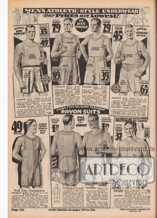 """""""Sport-Unterwäsche für Männer – Unsere Preise sind am günstigsten! Wir zahlen das Porto"""" (engl. """"Men's Athletic-Style Underwear – Our Prices are Lowest! We Pay Postage""""). Herrenunterwäsche. Unterhemden aus Schweizer Ripp-Baumwolle, Rayon, flach-gestrickter Baumwolle und Kamm-Baumwolle, Shorts und Unterhosen aus gestreiftem Breitgewebe, Rayon, dünn gewebtem Jeansstoff (Baumwolle), Trikotage oder Breitgewebe. Unten werden sommerlich leichte Hemdhosen ohne Ärmel und lange Beine und einteilige, lange Unterhemden mit angeschnittenen Unterhosen aus gerippter Baumwolle oder gestricktem Rayon angeboten. Unten rechts ein zweiteiliges Modell aus importierter Balbriggan-Baumwolle (Ort in Irland)."""