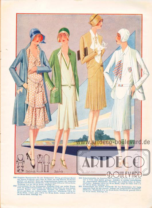3648: Elegantes Mantelcomplet für den Hochsommer. Streng geradliniger Mantel aus blauem Wollkrepp oder Crêpe de Chine, mit dem Material des Kleides garniert und gefüttert. Kleid aus buntgemustertem Foulard mit plissierten Rüschen und Schleifen.3649: Jackencomplet für den Hochsommer. Einfaches Kleid aus weißer Waschseide mit großem Plastroneffekt. Als Aufputz dienen Biais aus dem Jackenmaterial. Kurzes, weit ausfallendes Jäckchen aus grünem Leinen mit Revers und Biais aus weißem Leinen.3650: Rohseidenkostüm im französischen Geschmack. Der Rock ist fein plissiert und in Form eines Sattels gesteppt. Jäckchen in weicher Linienführung mit abgerundetem Hüftensattel. Jabotbluse aus weißem Crêpe de Chine.3651: Jackencomplet aus weißer Waschseide für den Hochsommer. Der bogig angesetzte Rock ist fein plissiert. Aufputz aus buntgestreifter Waschseide.