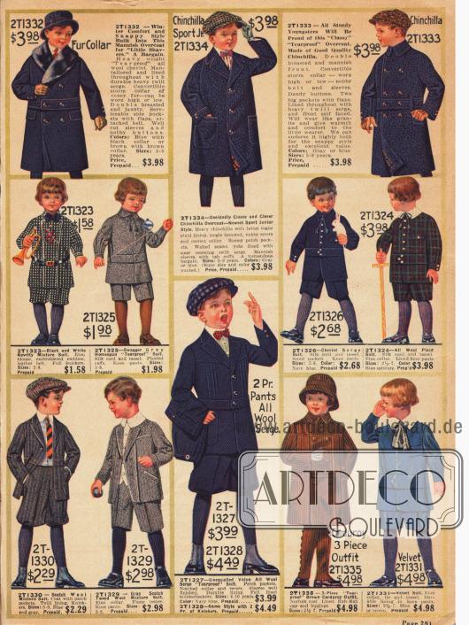 """Feine Spielanzüge für Jungen bis 10 Jahre aus robusten, """"tearproof"""" (knitterfreien) Stoffen wie Cheviot (Tweedstoff), Serge, Samt, Kord und Wollmischstoffen. Die Mäntelchen im oberen Bildrand sind aus Woll-Cheviot und Chinchilla, wobei der erste Mantel mit Kaninchenpelz verbrämt ist.Viele Jäckchen der präsentierten Spielanzüge sind mit einem fest angenähten Gürtelband im Stil der """"Norfolk Suits"""", die bereits in der Jahrhundertwende populär waren, gearbeitet."""
