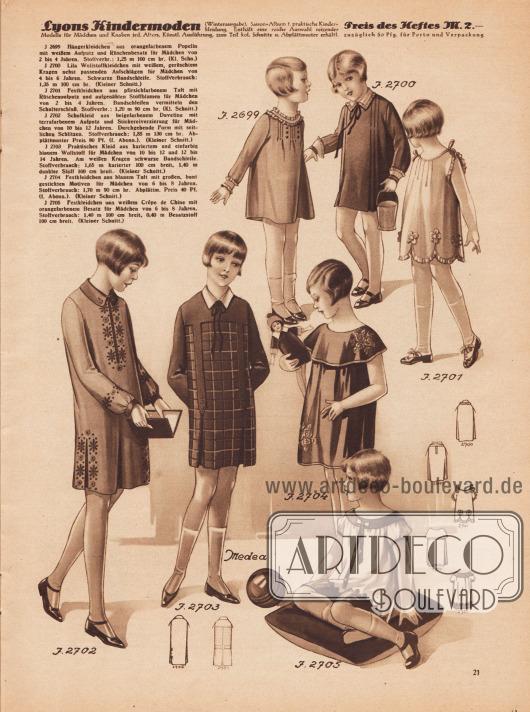 Kleider für Mädchen im Alter von zwei bis 12 Jahren aus Popeline, Wolle, Taft, Duvetine und Crêpe de Chine. Die Modelle 2701, 2704 und 2705 werden als Festkleidchen deklariert. Das 2702 ist ein Schulkleid.