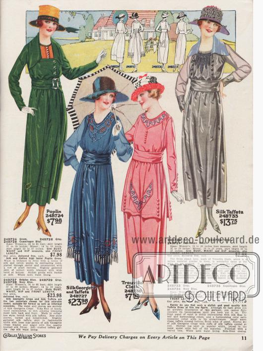 Frühlingshafte Damenkleider aus hochglänzendem Seiden-Baumwoll-Popeline, Seiden-Georgette Krepp und Seiden-Taft, Trouville Cloth (leinenähnlicher Stoff aus Baumwolle) oder changierendem Seiden-Taft. Das erste Kleid zeigt ein oranges Westchen mit Perlmutterknöpfen. Bandgürtel mit Metallschließe. Das zweite sehr elegante Modell präsentiert Perlstickerei am Ausschnitt und an den beiden losen Seitenpaneelen, die mit geknoteten Seidenfransen abschließen. Bluse und Ärmel aus duftig feinem Seiden-Georgette Krepp. Ärmel mit Biesen und Hohlnähten. Das dritte Kleid präsentiert ein schürzenlanges Front- und Rückenpaneel, das mit Stickerei und Knöpfen in der Farbe des Kleidmaterials versehen ist. Die Bluse des vierten Kleides ist am Ausschnitt mit Rohseide bestickt und besitzt einen breiten Kragen aus Satin-Messaline. Die beiden Frontpaneele sind beidseitig mit Zierknöpfen versehen.