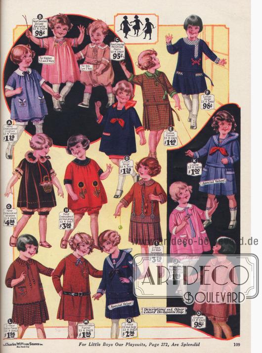 """""""Panty dresses"""" (dt. Kleidchen mit Höschen) für Mädchen bis 6 Jahre aus Gingham, Satin, Samt, merzerisiertem Poplin und Woll-Jersey. Die anderen Kleidchen sind aus Flanell, Woll-Serge, Homespun und Leinen."""