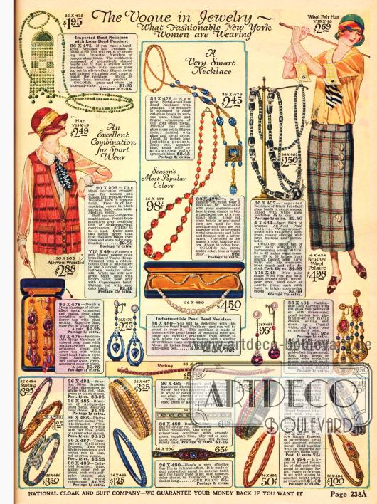 Modeschmuck bestehend aus Halsketten, Ohrringen und Armreifen in verschiedensten Dessins.