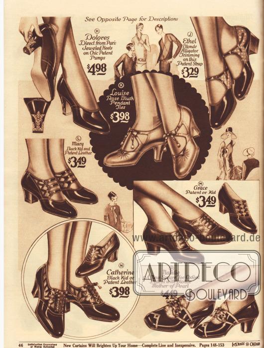 """Schnallenschuhe, Pumps und Oxfords für Damen. Die Schuhe sind aus Lackleder oder Chevreauleder (Ziegenleder).Die Modelle zeigen Militärabsätze (niedrig und dick geformt), kubanische Absätze (mittelhoch und relativ dick geformt) oder spitze, schlanke, hohe Absätze (engl. """"spike heels""""). Das Modell Dolores (H), das direkt aus Paris importiert wurde, präsentiert ein Strassmotiv an beiden Absätzen. Inlays aus alligatorenartig genarbtem Leder (J), strahlenartige Nähte (K), Perlmuttverzierung (P), dekorative Ausstanzungen und Durchbrucharbeiten (K, M, N) oder Dreifachschnallen (L) geben jedem Modell einen individuellen Charakter."""