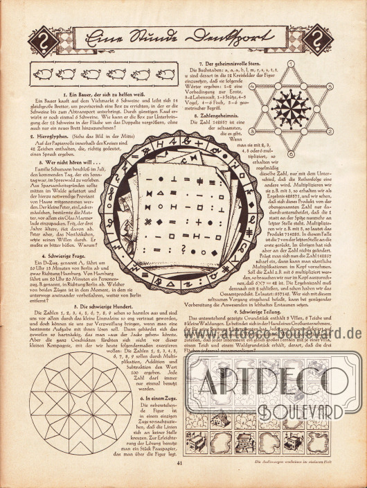 """""""Eine Stunde Denksport"""", Rätselseite. 1. Ein Bauer, der sich zu helfen weiß; 2. Hieroglyphen; 3. Wer nicht hören will…; 4. Schwierige Frage; 5. Die schwierige Hundert; 6. In einem Zuge; 7. Der geheimnisvolle Stern; 8. Zahlengeheimnis; 9. Schwierige Teilung."""