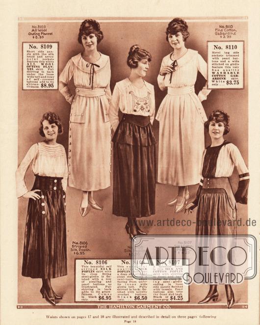 Röcke für Frauen aus Woll-Flanell, Seiden-Popeline, Seiden und Baumwoll-Popeline und Baumwoll-Gabardine. Einzelne Röcke zeigen tunikaartige Effekte und Schoßteile.