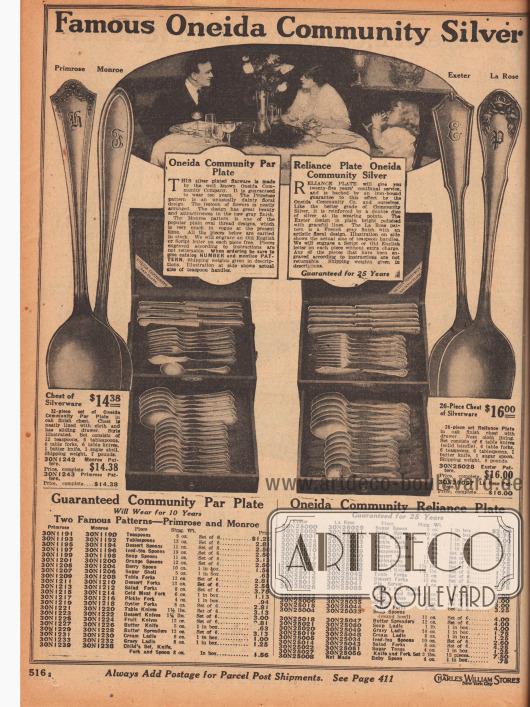 """""""Das berühmte Oneida Community Tafelsilber"""" (engl. """"Famous Oneida Community Silver""""). Essbestecke mit ornamentalen und kunstvollen Griffen im Primel Muster (hier """"Primrose pattern"""") oder im Muster La Rose des amerikanischen Herstellers Oneida Community Company (New York, USA). Alle Bestecke haben zehn bzw. 25 Jahre Garantie. Initialen können auf Wunsch eingraviert werden. Die Bestecke sind entweder 32-teilig (14,38 Dollar) oder 26-teilig (16,00 Dollar). Bei den Bestecken können außerdem einzeln oder im Sechserset bestellt werden: Zuckerlöffel, Löffel für Beeren, Gabeln für Aufschnitt, Gurkengabeln, Buttermesser, Teelöffel, Nachtischlöffel, Tafellöffel, Tischmesser, Dessertmesser, Tischgabeln, Nachtischgabeln, Tortenheber, Kinderbesteck, Fruchtmesser, Löffel für Orangen, Austerngabeln, Suppenlöffel, Butterstreichmesser, Suppenkellen, Saucenkellen, Sahnekellen, lange Eisteelöffel, Salatgabeln, Zuckerzangen und Babylöffel."""
