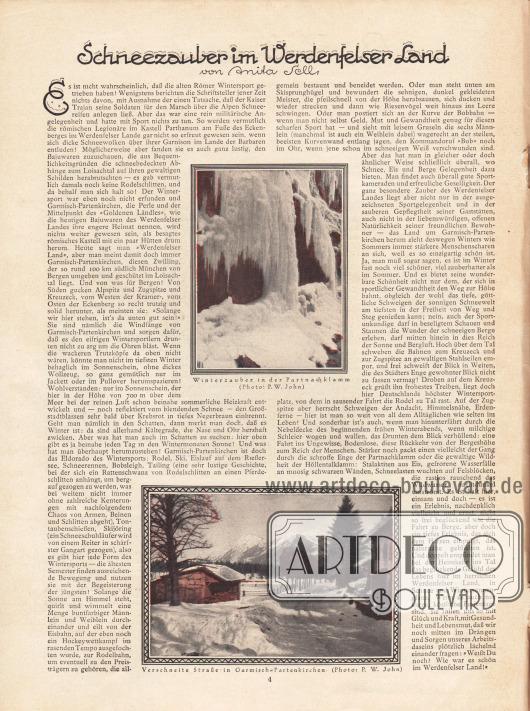 Artikel: Sell, Anita, Schneezauber im Werdenfelser-Land. Mit zwei Fotos vom Winterzauber in Partnachklamm und einer verschneiten Straße in Garmisch-Partenkirchen. Fotos: P. W. John.