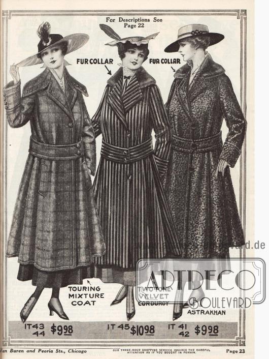 """Zuerst ein Wintermantel aus Baumwoll-Mischstoff mit seitlichen Taschen, überbreitem Kragen und Ziernähten. Danach folgt ein Mantel aus in zweifarbig gestreiftem Samt Cord mit einem Pelzkragen. Als letztes ein Mantel aus """"Astrakhan"""" (also Persianer, Breitschwanz oder auch Karakulschaf) mit einem zusätzlichen Pelzkragen."""