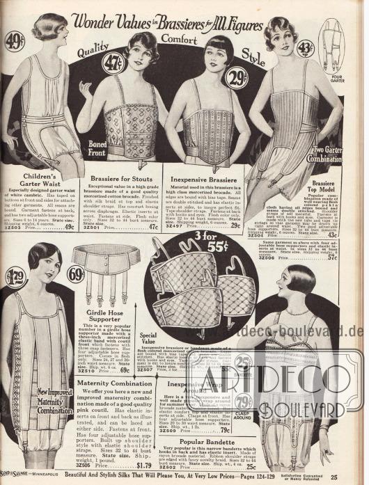 """Unterwäsche für junge Mädchen, Frauen, beleibte Damen und werdende Mütter.Eine Unterhemd-Höschen-Kombination (engl. """"garter waist"""") aus Batist mit Strumpfbandhaltern für 6 bis 14-jährige Mädchen, zwei tiefgehende Bustiers aus gemustertem Baumwoll-Brokat für stärker gebaute Damen, eine Bustier-Strumpfbandhalter-Kombination aus """"pekin cloth"""", einem elastischen und bequemen Korsett aus rosa Coutil (robuster, dichtgewebter Baumwollstoff) für werdende Mütter, einem Hüftgürtel mit vier Strumpfbandhaltern aus merzerisiertem, elastischen Band, einem Angebot von drei Büstenhaltern aus merzerisiertem Baumwoll-Brokat für 55 Cent sowie eine zweiteilige und jeweils separat bestellbare Bustier-Hüftgürtelkombination aus Rayon-Brokat."""