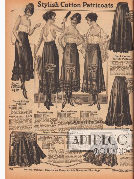 """""""Modische Baumwoll-Petticoats"""" (engl. """"Stylish Cotton Petticoats""""). Damenunterwäsche. Unterröcke aus karierten oder zumeist einfarbigem Baumwoll-Taft und """"Heatherbloom""""-Baumwoll-Taft für Damen. Die unteren Drittel der Röcke werden durch mehrlagige Rüschen, Volants, Biesen oder mittels feiner Plissees erweitert. Petticoats mit elastischen Taillenbändern."""