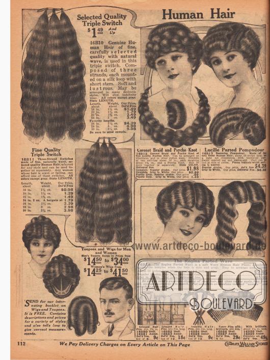 """Angebot mit menschlichem Echthaar in allen Naturfarben. Hierunter befinden Haarteile (z. B. mit Namen """"Pompadour""""), dauergewellte Locken, Haarknoten, geflochtene Zöpfe in verschiedenen Längen. Für ganze Perücken und Toupets für Damen und Herren kann ein kostenloses Booklet bestellt werden (siehe links unten). Die Haarsträhnen links sind in den längen 18 bis 30 Inch (45,7 bis 76,2 cm) erhältlich. Graues und weißes Haar ist gegen Aufpreis erhältlich. Unten rechts werden Haarnadeln und elegante Haarkämme angeboten."""