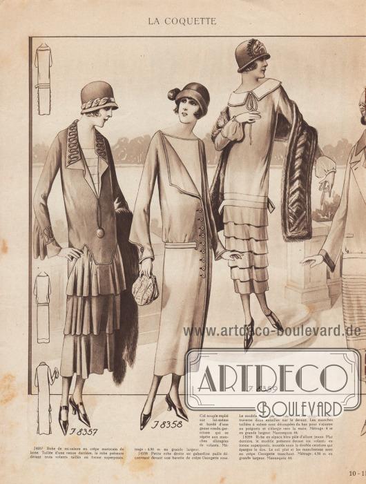 LA COQUETTE. J 8357: Kleid für die Übergangszeit aus marocain Woll-Crêpe. Das Kleid ist im Rücken lang und glatt geschnitten und hat vorne drei übereinanderliegende, geformte Volants. Der weiche Kragen ist umgeschlagen und mit einer runden Gimpe bzw. Schnurstickerei verziert, die sich an den Ärmeln mit Rüschen wiederholt. Meterzahl: 4,50 m in großer Breite. J 8358: Kleines, gerade geschnittenes Kleid aus strohfarbenem Gabardine, das vorne einen Latz aus rosafarbenem Georgette-Krepp zeigt. Das Modell wird mit Knöpfen geschlossen. Ein schmiegsamer Gürtel wird vorne durch zwei Schlitze geführt. Die Ärmel sind von unten her so geschnitten, dass sie sich den Handgelenken anpassen und zur Hand hin breiter werden. Meterzahl: 4 m in großer Breite. Schnittmuster für Größe 44. J 8359: Blassblaues Alpakakleid mit jugendlichem Charakter. Das Modell ist hinten glatt gehalten und hat vorne sechs übereinanderliegende Formvolants, die unter dem doppelten Gürtel angebracht sind, der den Rücken umschließt. Der flache Kragen und die Ärmel sind aus scharf geschnittenem Georgette Crêpe. Meterzahl: 4,50 m in großer Breite. Schnittmuster für Größe 44. [Seite] 10