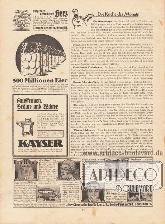 """Artikel:O. V., Die Küche des Monats (Frühlingssuppe, Morcheln à la crême, gebackenes Osterlamm, bunte Schweinefilets, Eiercrême, Wiener Eisbogen).Werbung:Samenzucht Gärtnerei Stenger & Rotter, Erfurt M&#x3B;Garantol Eierkonservierungsmittel&#x3B;Kayser Pfälz Nähmaschinen- und Fahrräder-Fabrik, Kaiserslautern 13 (Pfalz)&#x3B;""""Eta"""" Chemische Fabrik GmbH, Berlin-Pankow 264, Borkumstr. 2."""