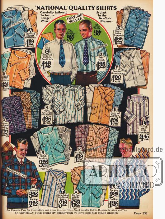 Anzughemden mit wahlweise anknöpfbaren Stehkragen oder angearbeiteten Kragen in variierenden Mustern und Farben. Holzfällerjacke unten links und ein Kricket Pullover unten rechts.