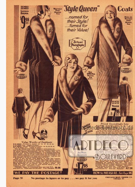 Damenmäntel aus Woll-Bolivia, Woll-Breitgewebe und Velours. Für alle Modelle wurde chinesisches Schafsfell zur Verbrämung verwendet. Neben den Schalkragen mit Ansteckblüten aus Stoff und den ebenfalls verbrämten Ärmelaufschlägen werden die Mäntel von symmetrischen Paspeln und Ziernähten verschönert.