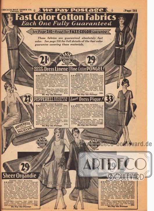 """""""Farbechte Baumwoll-Stoffe – Jeder mit voller Garantie"""" (engl. """"Fast Color Cotton Fabrics – Each One Fully Guaranteed""""). Im Angebot auf dieser Seite sind schweres, wasserabweisendes Leinengewebe, Baumwoll-Pongee, Pepperell-Musselin (hergestellt in den Pepperell Stoffwebereien in Biddeford, Maine, USA), Baumwoll-Pikee, Organdy sowie importierter, französischer Chiffon-Schleierstoff. Die Preise zwischen 21 und 33 Cent beziehen sich auf einen Yard (91,44 cm). Die Breite der Stoffe beträgt zwischen 34 und 40 Inch (86,4 bis 101,6 cm)."""