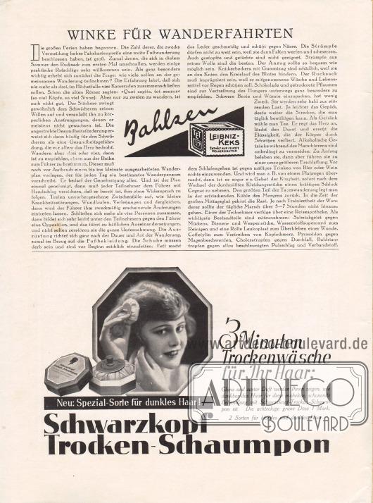 Artikel:O. V., Winke für Wanderfahrten.Werbung:Leibniz-Keks, Bahlsen&#x3B;Schwarzkopf Trocken-Schaumpon (Shampoo).