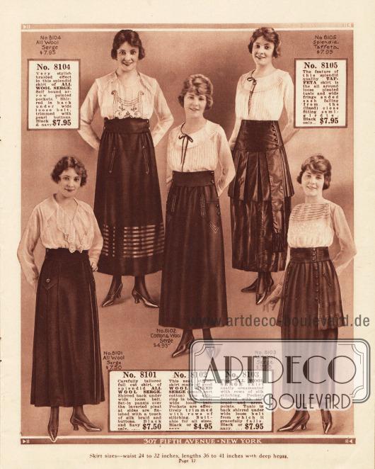 Damenröcke aus Woll-Serge, Woll-Serge Mischstoff und glänzendem Taft (Nr. 8105). Rock Nr. 8104 zeigt im unteren Bereich mehrere Reihen glänzender Tressen. Die anderen Röcke zeigen nur zurückhaltende Ziernähte und wenige Zierknöpfe.