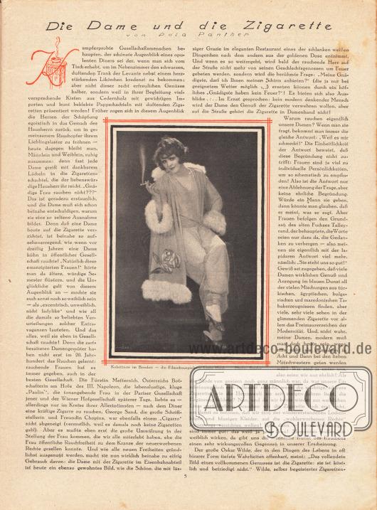 """Artikel: Panther, Pola, Die Dame und die Zigarette. Mit einer Fotografie der rauchenden deutschen Filmschauspielerin Liane Haid (1895-2000) mit dem Titel """"Koketterie im Boudoir"""". Foto: Binder."""