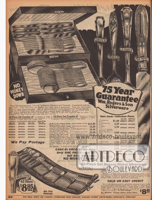 """Kunstvoll gearbeitete Silberbestecke mit ornamental gravierten Griffen. Die verschiedenen Modelle, die entweder einzeln oder als 29-, 34-, 42- oder 52-teiliges Set verkauft werden, besitzen die klangvollen Namen """"Lincoln"""", """"Princess"""", """"La France"""" oder """"Triumph"""". Die Bestecke haben zudem eine Garantie von 75 Jahren von der Herstellerfirma Wm. Rogers & Son Silverware. Zu den Bestecken gehören Gabeln, Messer, Löffel, Teelöffel, Salatgabeln, Butterstreichmesser, Eisteelöffel, Suppenlöffel, Aufschnittgabeln und Saucenkellen."""