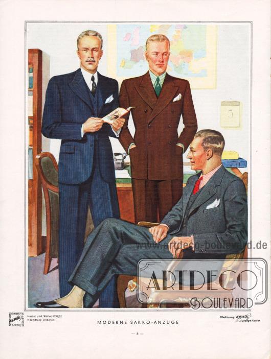 """""""Moderne Sakko-Anzüge"""". Für die aktuelle Herrenmode 1931 sind die hier gezeigten Sakko-Anzüge unentbehrlich. Der gut gekleidete Herr benötigt einen Straßenanzug aus gemustertem Stoff (links), einen doppelreihigen Anzug aus dunklem Stoff für Geschäft und Reisen (Mitte) sowie zu Besuchen einen kombinierten Anzug. Die Musterung der Saisonstoffe ist dezent und präsentiert nur feine Streifen, Punkte oder auch zurückhaltende Diagonalmuster. Alle auffälligen Muster sind ganz verschwunden. Zeichnung/Illustration: Harald Schwerdtfeger (1888-1956)."""