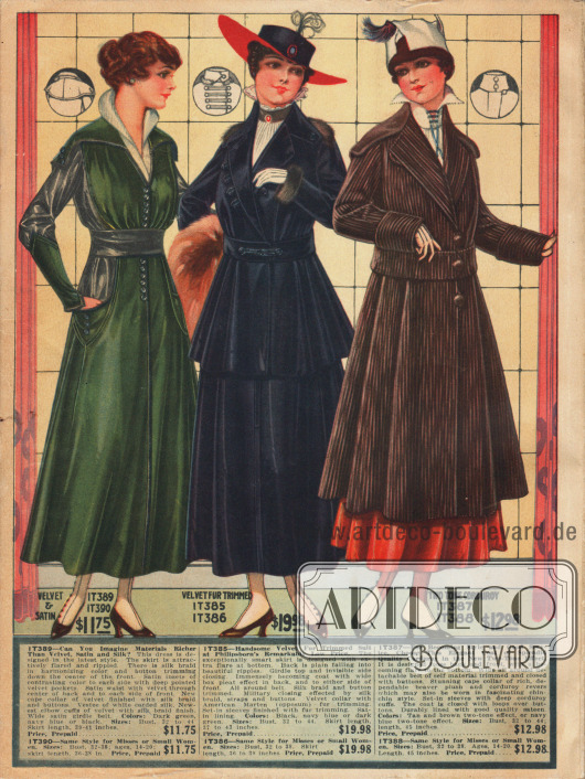 Kleid aus Satin-Samt mit enger Gürtellung, großen Taschen, überbreitem Cape-Kragen und Seidenborte an Seiten und Oberarmen. Das in der Mitte präsentierte Samtkostüm mit Marderpelzbesatz an Kragen und Ärmelaufschlägen ist sehr charakteristisch für die Mode 1916. Die Jacke ist mit einem abstehenden Schoß, der in tiefen Falten fällt, gearbeitet. Ein brauner Kordmantel im zweifarbigen Effekt beschließt das Angebot der Firma Philipsborn.