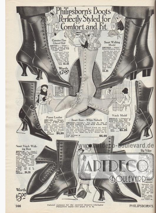"""""""Philipsborn Stiefel. Perfekt geformt für Komfort und beste Passform"""" (engl. """"Philipsborn's Boots Perfectly Styled for Comfort and Fit""""). Hochgeschlossene Straßen-Schnürstiefel aus lasiertem Chevreauleder (Ziegenleder), Lackleder oder Nubukleder (Rauleder). Die Stiefel zeigen entweder die geschweiften, schlanken Louis XIV Absätze oder mittelhohe Militärabsätze. Sehr spitze Schuhkappen sind modern. Nähte mit Zier-Perforationen."""