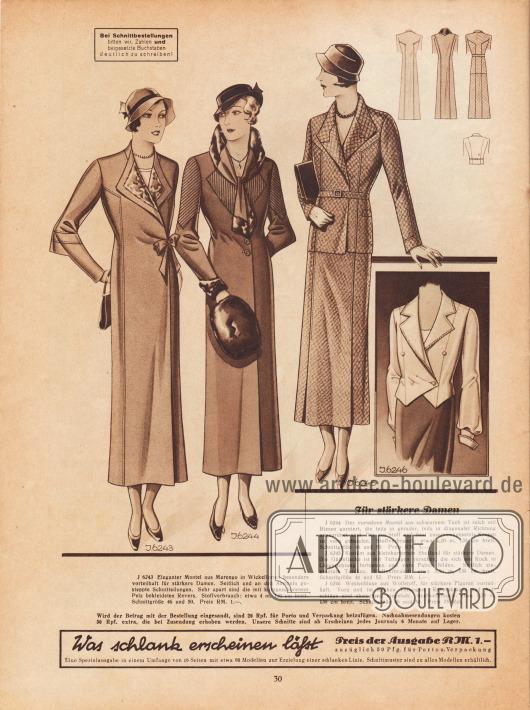 """""""Für stärkere Damen"""". 6243: Eleganter Mantel aus Marengo in Wickelform; besonders vorteilhaft für stärkere Damen. Seitlich und an den Ärmeln gesteppte Schnitteilungen. Sehr apart sind die mit kurzgeschorenem Pelz bekleideten Revers. 6244: Der vornehme Mantel aus schwarzem Tuch ist reich mit Biesen garniert, die teils in gerader, teils in diagonaler Richtung angeordnet sind. Der aus Stoff und Seal zusammengesetzte Kragen ist vorn gebunden. 6245: Kostüm aus kleinkariertem Shetland für stärkere Damen. Die Gürteljacke ist mit Teilungen versehen, die sich am Rock in Längsrichtung fortsetzen und vorn Falten bilden. Seitlich eingesetzte Taschen. 6246: Westenbluse aus Wollstoff, für stärkere Figuren vorteilhaft. Vorn und im Rücken Teilungen. Reverskragen und Aufschläge sind abstechend eingefasst."""