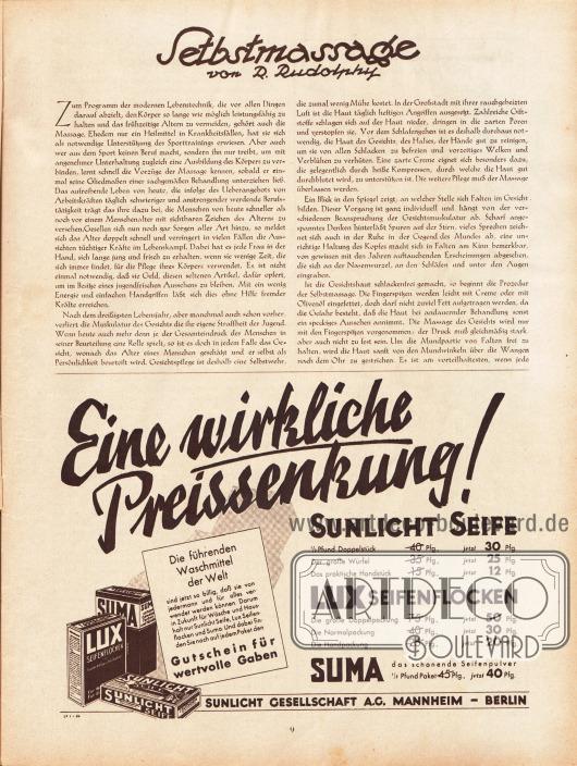 Artikel: Rudolphy, R., Selbstmassage. Werbung: Sunlicht Seife, Lux Seifenflocken, Suma Waschmittel, Sunlicht Gesellschaft A.G., Mannheim und Berlin.
