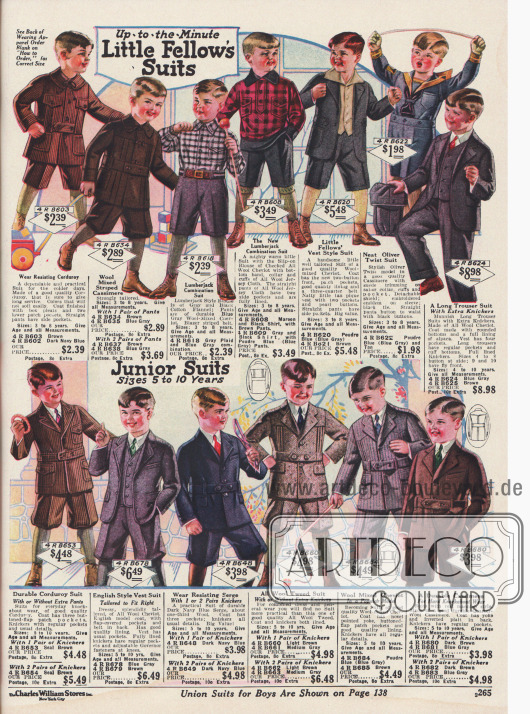 Spielanzüge für Jungen aus Kord, Woll-Kaschmir und Woll-Cheviot. Zwei dieser Spielanzüge sind im Holzfällerstil und einer der Anzüge ist ein Oliver Twist Anzug.Unten im Bild sind Sonntagsanzüge für Jungen aus Kord, Woll-Cheviot, Woll-Serge, Woll-Tweed und Woll-Kaschmir.