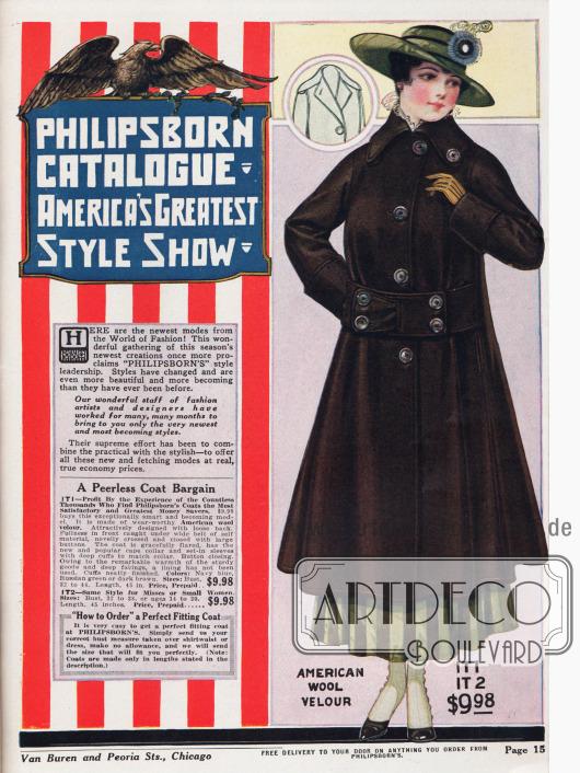 """""""Philipsborn Katalog – Amerikas größte Modenschau""""Den Anfang der Modenschau macht ein """"unvergleichlicher"""" Mantel aus amerikanischem Woll-Velours. Im Rücken ist der Mantel weit geschnitten, während die Weite an der Vorderseite durch den breiten Gürtel begrenzt wird. Große Ärmelaufschläge, nicht minder große Knöpfe und ein ausladender Capekragen (wenn er offen getragen wird) sind charakteristisch für den Mantel."""