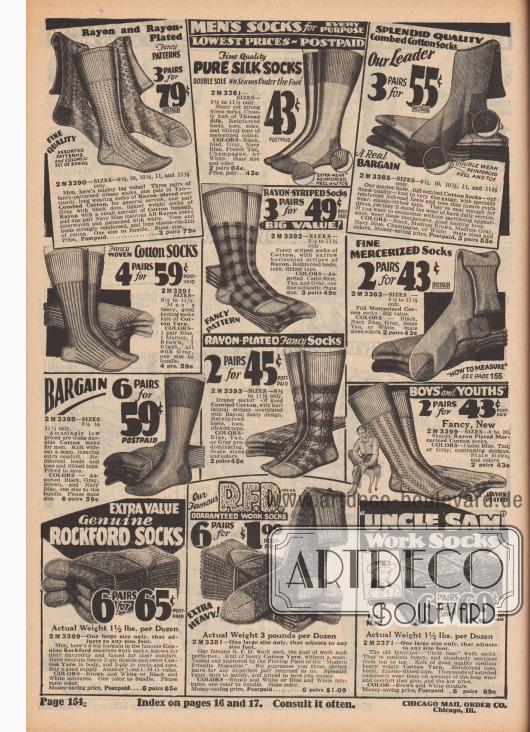 """""""Herrensocken für jeden Zweck. Niedrigste Preise – Porto vorbezahlt"""" (engl. """"Men's Socks for Every Purpose. Lowest Prices – Postpaid""""). Socken für Arbeit, Beruf und Alltag für Männer sowie Jungen. Oben: Feine Anzugsocken mit verstärkter Fersen-, Sohlen- und Zehenpartie aus unifarbenen und gemusterten Geweben wie Baumwolle, Rayon-Baumwolle, Rayon und merzerisierter Baumwolle, Kamm-Baumwolle oder reiner Seide. Unten befinden sich dicke Arbeitssocken im Vorteilspack mit bis zu sechs Paar aus Baumwollgarnen der Marken Rockford, Uncle Sam oder der Chicago Mail Order Eigenmarke R. F. D. (Reg. U.S. Pat. Off.)."""