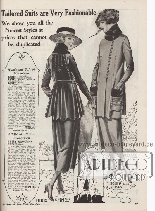 """""""Schneiderkostüme sind sehr in Mode. Wir zeigen Ihnen die neuesten Stile zu Preisen, die nicht kopiert werden können"""" (engl. """"Tailored Suits are Very Fashionable. We show you all the Newest Styles at prices that cannot be duplicated"""").  1K815 / 1K816 / 1K817 / 1K818: Attraktives Straßenkostüm aus modischem Samt, erhältlich in Pflaumen-Lila, Herbstbraun, dunklem Newport Grün oder Schwarz, zum Preis von 38,98 Dollar. Jackenschoß weit geschnitten und mit reichem Faltenwurf. Im Rücken und vorne Seidenstickerei. Kragen verbrämt mit schwarzem """"Sealine Fur"""" (auf Robbe geschorenes und gefärbtes, australisches Kaninchen). Jackenschluss mittels Samt-Schlaufen und Knöpfen. Jacke mit buntem Seidenfutter. 1K819 / 1K820 / 1K821: Schickes Damenkostüm aus Woll-Chiffon-Breitgewebe, bestellbar in den Farben Herbstbraun, Gent Blau oder Schwarz, für 49,95 Dollar. Kostüm im schlanken Schnitt und ohne Gürtel. Konvertierbarer Kragen und Oberseiten der Taschen mit """"Sealine Fur"""" abgefüttert. Aufgesetzte Taschen, Jackenfront und Rücken mit Seidenstickerei und Knopfgarnitur. Bunt gemusterter Satin als Jackenfutter."""