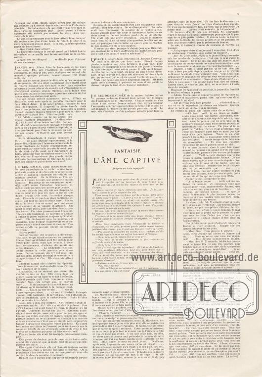 Artikel: Macéra, Georges de, Les Petits Souliers Rouges; Ariza, F. J., Fantaisie l'Âme Captive (D'après un texte espagnol).