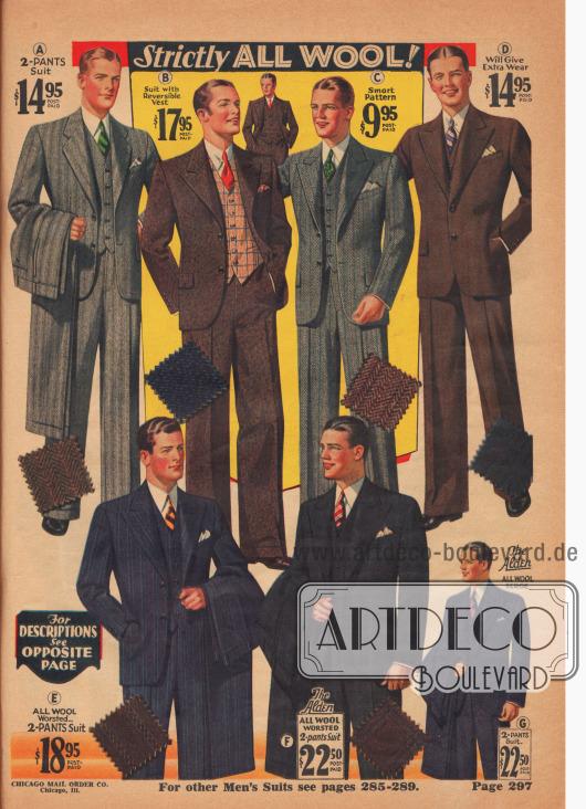 """REINE WOLLE!  (A) 4 K 5188 – Alle Größen, Brust 34 bis 44 Zoll; Taille 29 bis 42 Zoll; Innennaht 29 bis 34 Zoll. Wenn Sie einen gut geschnittenen und gut verarbeiteten, aber dennoch preisgünstigen Zwei-Hosen-Anzug wünschen, wählen Sie diesen modisch gestalteten Anzug aus besonders guter, reiner Kaschmir-Wolle, in schönem, ausgeprägtem zweifarbigem Fischgrätenmuster, mit hellen, kontrastierenden, durchbrochenen Nadelstreifen durchwirkt. Mit druck- und verschleißfester Polsterung, die großzügig verwendet wurde, um der neuesten Mode zu entsprechen. Berühmtes Green Edge Kanevas und gutes Rosshaar-Gewebe. Die Westen-Rückseite und das Futter im halbgefütterten Mantel sind aus fantasievoll gestreiftem Rayon, was eine lange Lebensdauer des Anzugs garantiert. Mantelärmel und Weste sind mit hochwertigem Satin-Twill gefüttert. FARBEN: Blau-Grau oder Mittelbraun-Mischung. Geben Sie Farbe, Größe, Gewicht, Brust-, Taillen- und Innennahtmaße an… 14,95 $. (B) 4 K 5140 – Alle Größen, Brust 33 bis 42 Zoll; Taille 29 bis 38 Zoll; Innennaht 29 bis 34 Zoll. Fesch – und wir meinen nicht """"vielleicht""""! Tragen Sie die """"Whoopee""""-Weste mit der hellen, karierten Seite nach außen, wenn Sie am schicksten aussehen wollen, drehen Sie die einfarbige Seite nach außen, wenn Sie sie formeller aussehen wollen. Beachten Sie den Mantel mit seinen neuen """"Seil""""-Ärmelspitzen, die Ihnen breite """"Männer""""-Schultern verleihen. Der Mantel ist aus sehr guter, reiner Kaschmir-Wolle in zweifarbiger Diagonalwebung gefertigt, die mit winzigen Flecken in heller Farbe hervorgehoben ist. Die Hose hat 20-Zoll breite Hosenaufschläge. Westen-Rückseite und Halbfutter im Sakko aus schickem """"garantiertem"""" Rayon. Hochmodern im Stil, wertig und absolut zeitgemäß. FARBEN: Dunkelblau oder Dunkelbraun. Geben Sie Farbe, Größe, Gewicht, Brust-, Taillen- und Innennahtumfang an… 7,95 $. (C) 4 K 5185 – Alle Größen, Brust 34 bis 44 Zoll; Taille 29 bis 42 Zoll; Innennaht 29 bis 34 Zoll. Ein wunderbares Beispiel dafür, was Sie mit Ihrem Ge"""