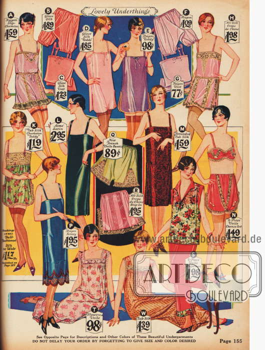 """Einteilige Hemd-Höschen, sog. """"Teddies"""" (A, D, E, H & K), Pumphöschen (B, F), Unterhemden (C, G), Unterröcke (L, M & P), Bandeau und Höschen Kombination (N), Höschen mit Spitze (Q & R), Schlafgewänder (T & W), Pyjama (S)."""