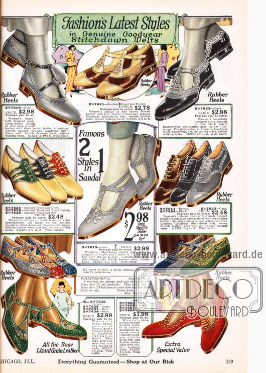 """Damenschuhe mit flachen Sohlen oder sehr niedrigen Absätzen und mit Goodyear Gummisohlen. Hauptsächlich erscheinen hier Oxfords oder recht offen geschnittene, sandalenartige Schuhe mit Schnallen und Riemenverschluss. Im Zentrum befinden sich sogenannte """"Mah-Jongg"""" Schuhe. Die Schuhe sind aus Veloursleder, Eidechsenleder, Russischleder und Lackleder. Oft wird hier mit kontrastierenden Farbeffekten gespielt."""