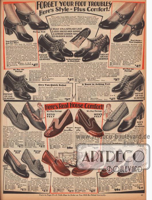 """Schnallenschuhe und Pumps für Damen im oberen Bildteil sowie Hausschuhe und Pantoffeln für beide Geschlechter im unteren Teil des Bildes.Die Damenschuhe sind aus Ziegen- und Lackleder gefertigt und weisen vielfache Ausstanzungen zur Zierde auf. Alle Modelle besitzen niedrige Absätze. Zwei Modelle sind Oxfords.Die Hausschlappen für Männer und die sogenannten """"boudoir slipper"""" für Frauen sind aus Filz oder Leder. Ihre Solen sind dagegen aus Gummi hergestellt."""